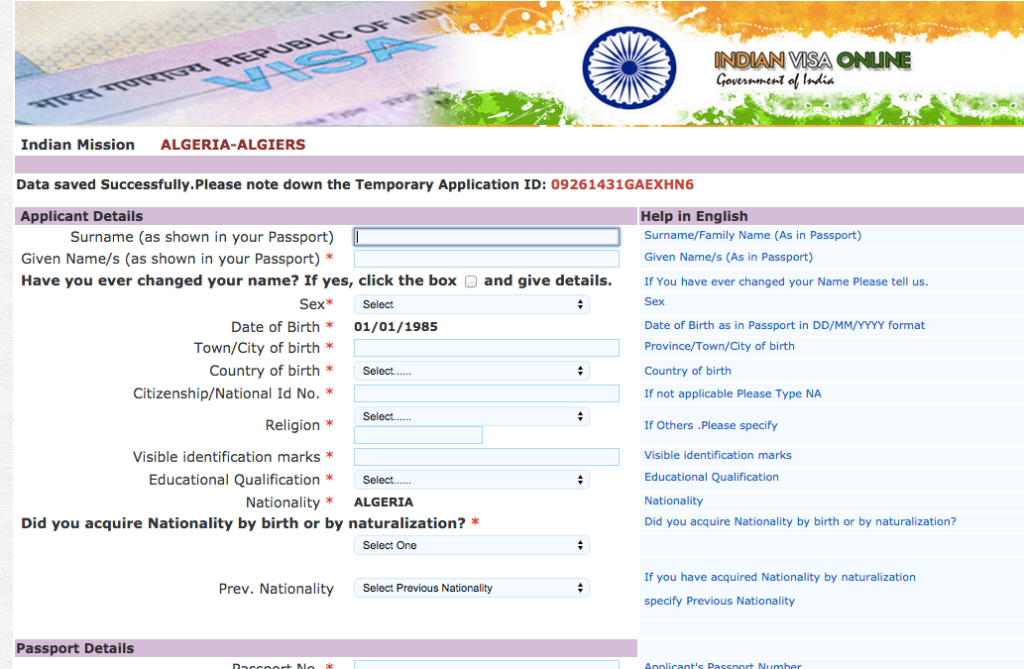 Filling Out Your Online Indian Visa Application Form